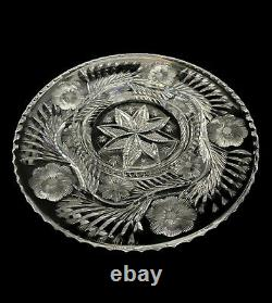 10 3/4 Signed Libbey American Brilliant Cut Glass Round Snack / Cracker Tray
