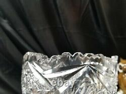 12 tall Antique Corset American Brilliant Cut Crystal Vase Stars
