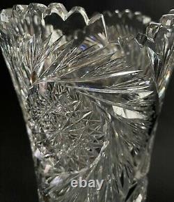 13 5/8 Fry Trojan Pattern American Brilliant Cut Glass Vase