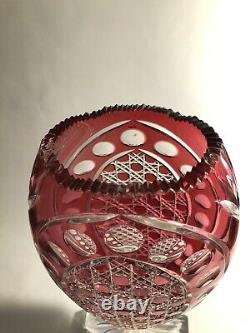 14 Signed Bohemian / Czech Cranberry / Ruby Red Cut to Clear Vase