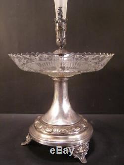 1800's Silver Bride Basket Cut Etch Glass Figure Epergne Center Piece Vase Bowl