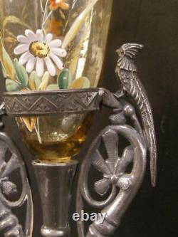 1800's Silver Parrot Figure Moser Bohemian Cut Glass H-PAINTED Enamel Bud Vase