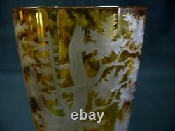 1880s Antique Amber Bohemian, Czech Cut Glass Vase Engraved Deer & Trees
