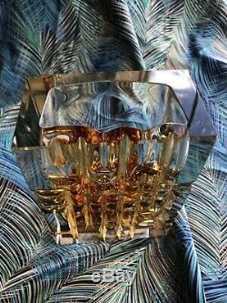 1960s Mid Century Exbor Czech Cut Glass Rectangular Vase Gold BRUTALIST LOOK