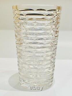 1990s Vintage Tiffany & Co Crystal Vase Wheel Cut Signed