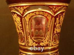 19 c Bohemian Biedermeier Moser Cut to Clear Gold Gilt Panel Enamel Glass Vase