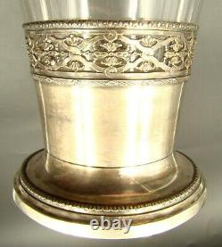 19th Century French Louis XVI Vase Baccarat Cut Crystal & Sterling Silver Mounts