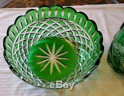 2 Bohemian Czech Emerald Green Cut To Clear Crystal Items-10 1/4 Vase & 8 Bowl