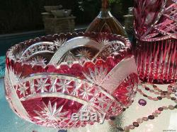 2 Huge Vintage Ruby Red Glass Bohemian Cut Clear Crystal Vase Centerpiece Bowl