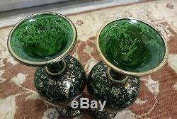 2 Moser Bohemian Glass 19th century Cut Overlay H/D gold/enamel13 3/8 Vases