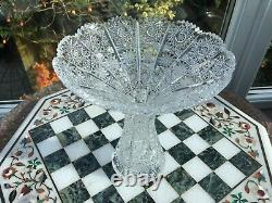 8 Bohemian CZECH Vintage Waisted vase Hand Cut QUEEN LACE Lead Glass
