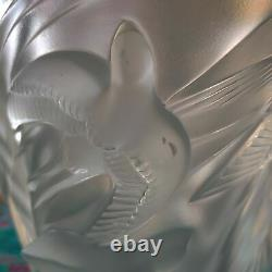 9.5 Lalique Crystal Vase Birds Cut Swallows Signed Martinets Vase Handcrafted