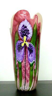ABELMAN 2000 Modern Studio Art Three Orchid Iris Flowers Cut Glass Vase, Apr 16H