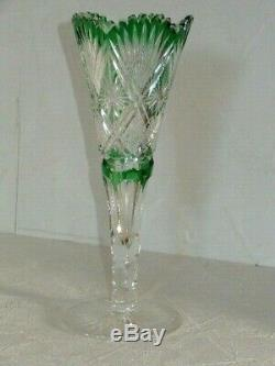 ABP American Brilliant Cut Glass Dorfinger Green Cut To Clear Trumpet Vase