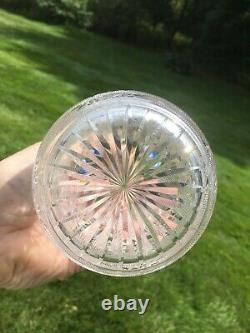 ABP American Brilliant Cut Glass Vase Intaglio Primrose Silver Threads Hobstars