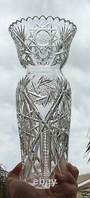 ABP Cut Glass 10 1/4 Vase Nice Form