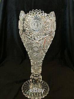 ABP Kelly Steinman Cut Glass Chalice Vase 14.5 x 5 1/4 Late 1890's