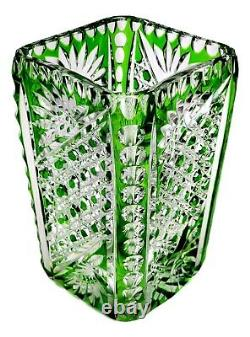 ANTIQUE Cut-To-Clear Green Glass Vase 6 Tall FINE QUALITY UNKNOWN MAKER