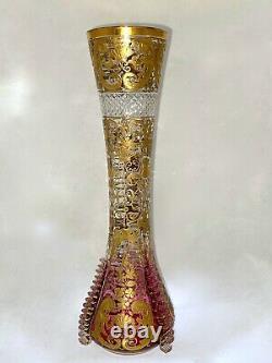 ANTIQUE MOSER 19th. C Bohemian Art Cut Glass VASE Gold Cranberry Rubina Rigaree