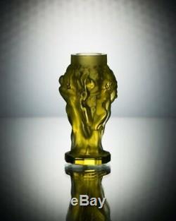 ART DECO Crystal Small Vintage Vase Czech Bohemian Hand Cut Glass Uranium Yellow