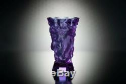 ART DECO Crystal Vintage Vase Czech Bohemian Hand Cut Glass Kids Alexandrite