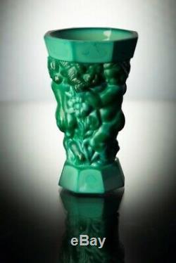 ART DECO Crystal Vintage Vase Czech Bohemian Hand Cut Glass Kids Jade Malachite