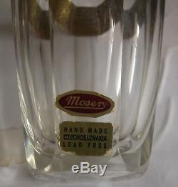 A Fine Gorgeous Moser Glass Vase With Golden Decoration Of Ancient Fighters