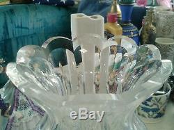 Acid signed 9 inch older Waterford cut crystal glass scalloped rim vase