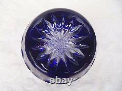 Ajka Hungary Claresta Cobalt Blue Cut To Clear Crystal Vase 9 3/4 Foil New Box