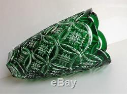 Ajka Lisbeth Emerald Green Cased Cut To Clear Crystal Vase, New, Signed