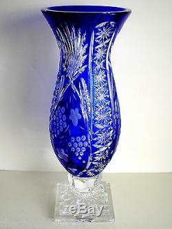 Ajka Marsala Cobalt Cased Cut To Clear Crystal Centerpiece Vase Huge