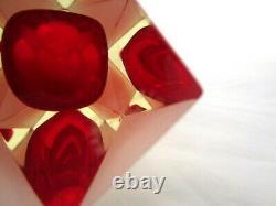 Alessandro Mandruzzato red prism cut sommerso & faceted corroso art glass vase
