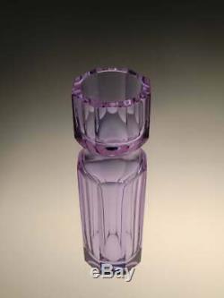 Alexandrite Art Glass Vase Moser Cut Glass Purple Blue Colour changing