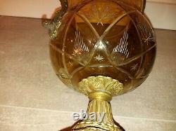 Alte Kristall Vase Glas Messing Montur Antique Crystal Cut Glass Vase Mounted
