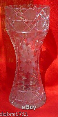 American Brillante Hourglass shape Flower etched 10 heavy old vase AUNT BRENDY
