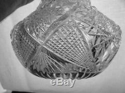 American Brilliant Cut Glass Libbey Colonna Pattern Bulbous Vase Scarce Form