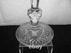 American Brilliant Cut Glass Massive 20 Tall Faceted Knob Hobstar Foot Vase