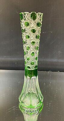 American Brilliant Cut Glass Vase-Green Cut To Clear-Daisy & Button-RARE-BIN