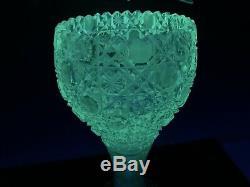 American Brilliant Cut Glass Vase Harvard Pattern Antique 14 1/4 Magnificent