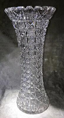 American Brilliant Period 14 Cut Glass Girdled Vase, Harvard Pattern Star+Cross