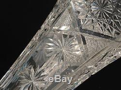 American Brilliant Period Bp Cut Glass Encased Trumpet Vase Att. J. D. Bergen