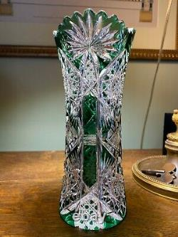 Antique 1908 VAL ST LAMBERT Rare Form Cut to Clear Vase 3385/17 HF 310 Pattern
