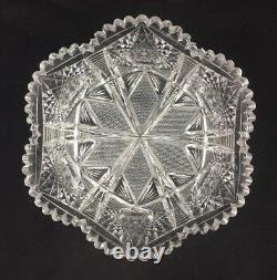 Antique American Brilliant Period ABP Deeply Cut Glass 9 x 4 Bowl