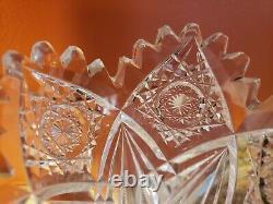 Antique American Brilliant Period Cut Glass Crystal Trumpet Bud Vase 10.24 ABP