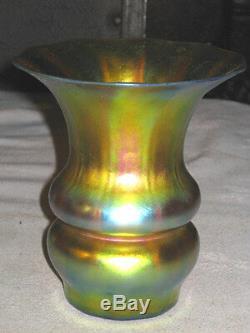 Antique Arts & Crafts Lg. Gold Steuben Aurene # 7447 Cut Flowers Glass Vase Mint