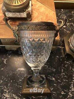 Antique Austrian Diamond Cut Crystal Neoclassical Urn/ Vase With Bacchus/ Satyr