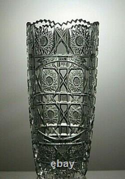 Antique Bohemia Crystal Queen Lace Cut Unique Vase 7 7/8 (see Description)