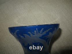 Antique Bohemian Cut To Clear Etched Blue Glass Vase Stag Forest Scene Czech