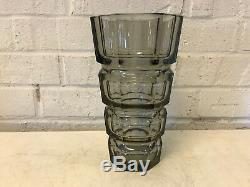 Antique Bohemian Czech Moser Glass Art Deco Smoky Grey Gray Facet Cut Glass Vase