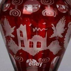 Antique Bohemian Egermann Cut to Clear Stag & Castle Hunt Scene Vase, circa 1880